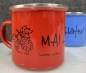 "Preview: ""MAI Haferl"" limited Edition *red*Emailletasse 12oz mit Silberrand"